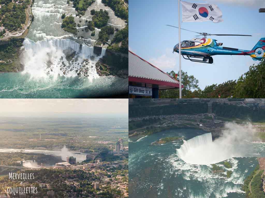 Les chutes du Niagara vue d'hélicoptère au Canada -source : Merveilles et coquillettes