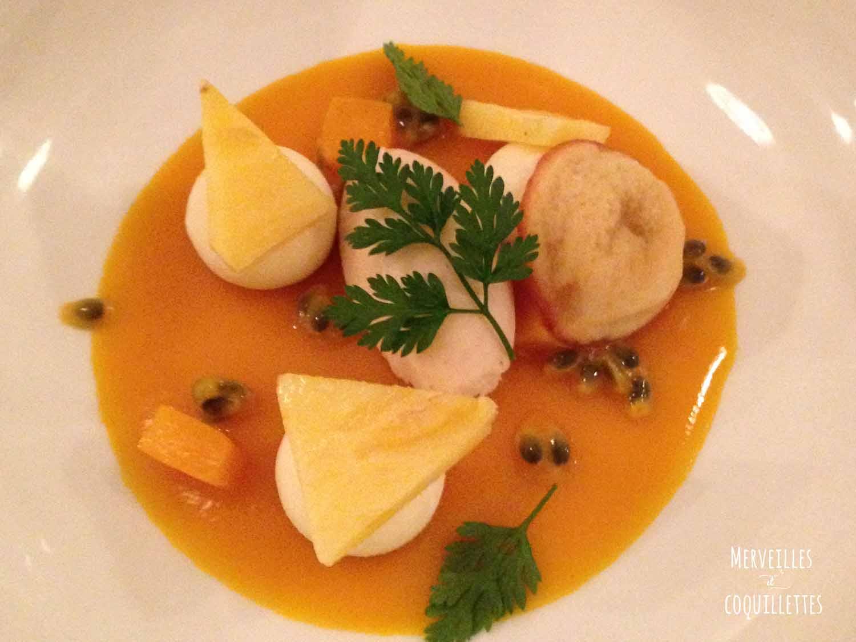 Dessert aux fruits de la passion restaurant du ha merveilles et coquillettes