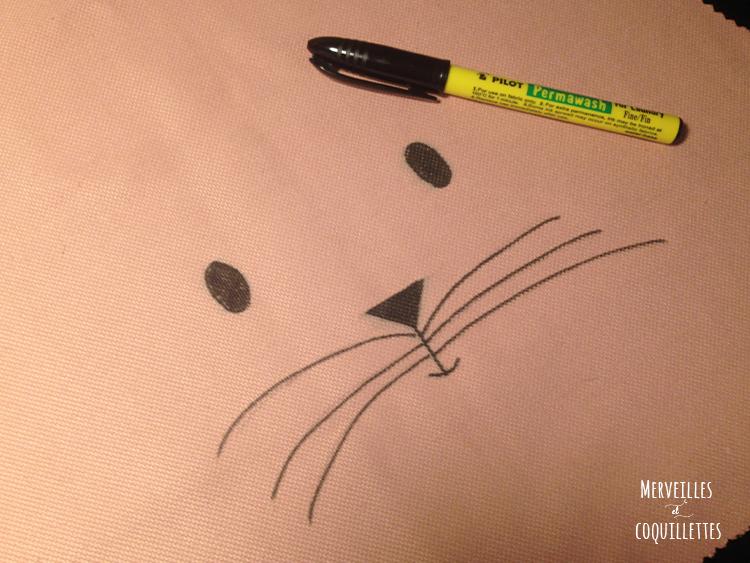chat dessiné sur le tissu uni de la robe réversible